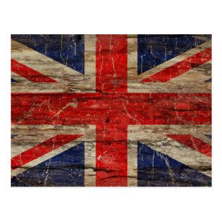 Wooden Vintage Union Jack Flag Postcard