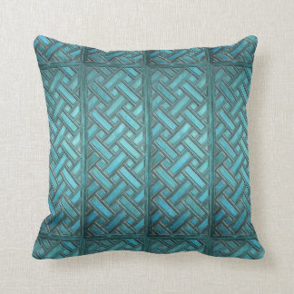Wooden Weave Pattern Turquoise Cushion
