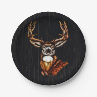 Wooden Wood Deer Rustic Country Personalized Party Paper Plate