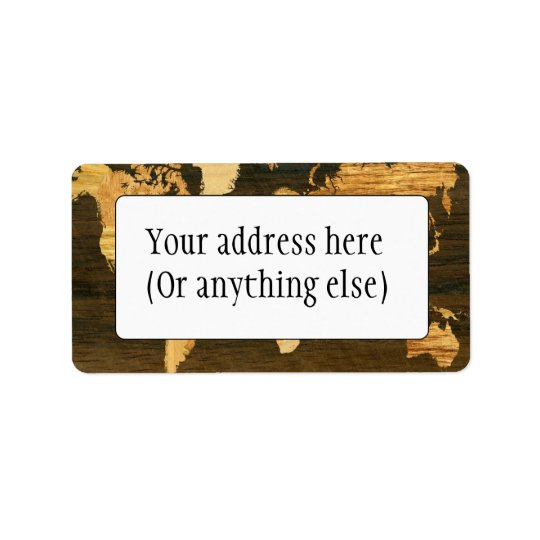 Wooden World Map Address Label