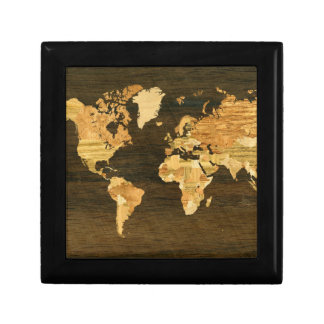Wooden World Map Gift Box