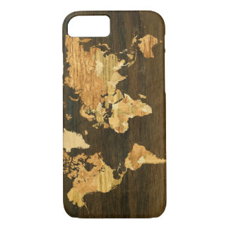 Wooden World Map iPhone 8/7 Case
