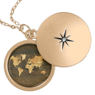 Wooden World Map Locket Necklace