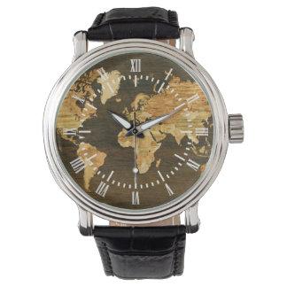 Wooden World Map Wristwatch