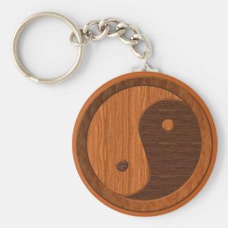 Wooden Yin Yang Basic Round Button Key Ring