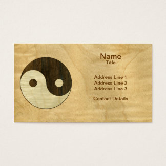 Wooden Yin Yang Symbol Business Card