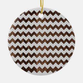 Wooden Zig Zag with white fabric Image Print Round Ceramic Decoration