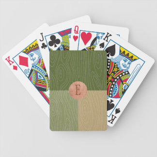 Woodgrain Color Blocks Fern Green and Copper Poker Deck