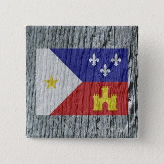 Woodgrain Style Acadian Cajun Flag Button Pin