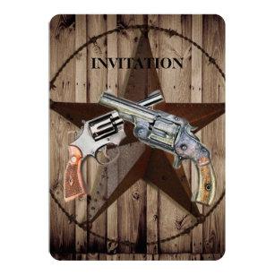 Woodgrain texas star cowboy western country pistol invitation