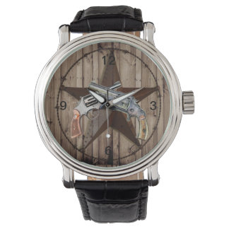 Woodgrain texas star cowboy western country pistol watch