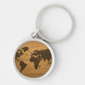 Woodgrain Textured World Map Silver-Colored Round Key Ring