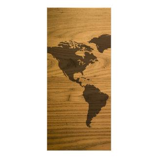 Woodgrain Textured World Map Rack Card Design