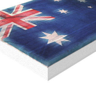 Woodgrain Vintage Australian Flag on Canvas Canvas Print