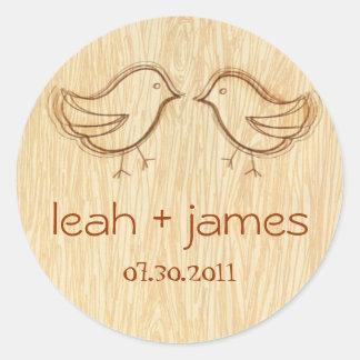 Woodgrain with Love Birds Sketch Sticker Label