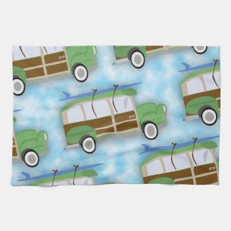 Woodie Surfin Wagon Pattern Tea Towel