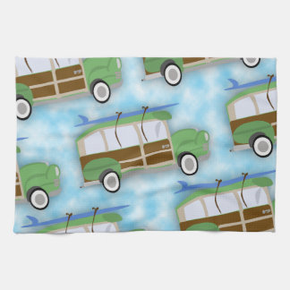 Woodie Surfin Wagon Pattern Tea Towels