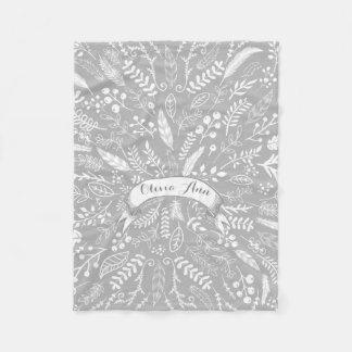 Woodland Adventure Leaf Ferns Pattern Personalized Fleece Blanket