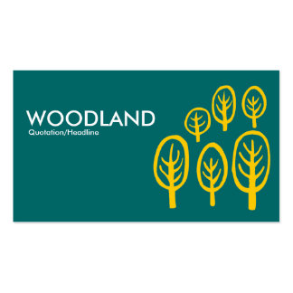 Woodland - Amber on Teal Double-Sided Standard Business Cards (Pack Of 100)