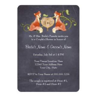 Woodland Animal Creatures, Fox n Vines Weddings 13 Cm X 18 Cm Invitation Card