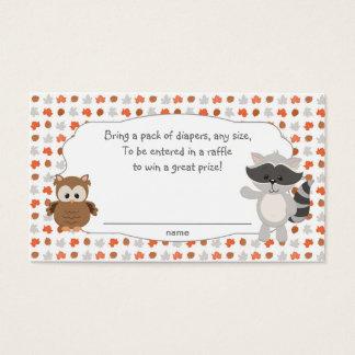 Woodland Animal Diaper Raffle Tickets