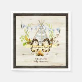 Woodland Animal Hedgehogs Teepee Boho Baby Shower Paper Napkin