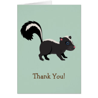 Woodland Animal,  Skunk on Sage Green Thank You Card