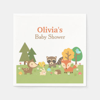 Woodland Animal Themed Baby Shower Party Supplies Disposable Serviette