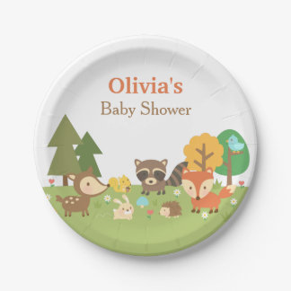 Woodland Animal Themed Baby Shower Party Supplies Paper Plate