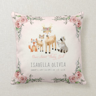 Woodland Animals Baby Girl Birth Info Watercolor Cushion