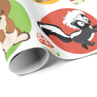 Woodland Animals baby party wrapping paper