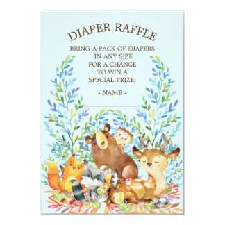 Woodland Animals Baby Shower Diaper Raffle Ticket Card