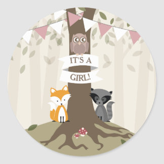 Woodland Animals Baby Shower - Girl Classic Round Sticker