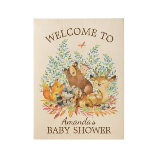 Woodland Animals Baby Shower Wood Poster