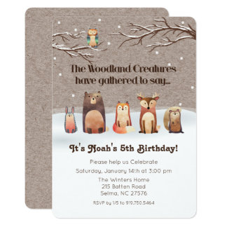 Woodland Animals Birthday Invitation