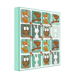 Woodland Animals Block Pattern Canvas Print
