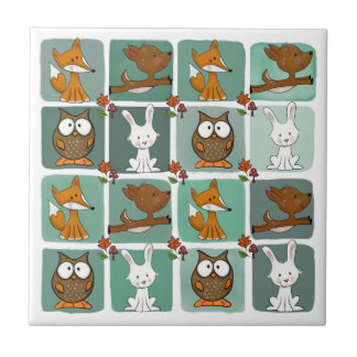 Woodland Animals Block Pattern Ceramic Tile