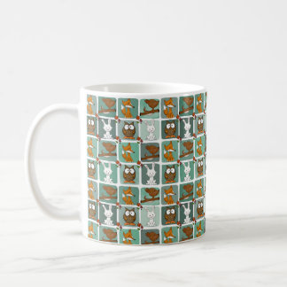Woodland Animals Block Pattern Coffee Mug