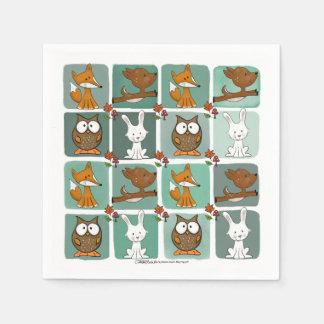 Woodland Animals Block Pattern Paper Napkin