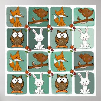 Woodland Animals Block Pattern Poster