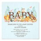 Woodland Animals Boys Baby Shower Invitation