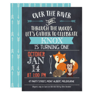 Woodland Animals Chalkboard Birthday Invitation