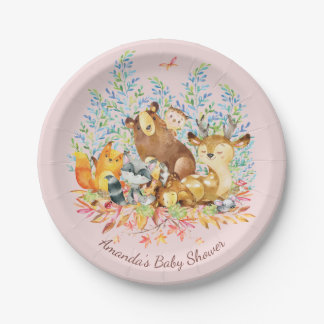 "Woodland Animals Girls Baby Shower 7"" Plate"