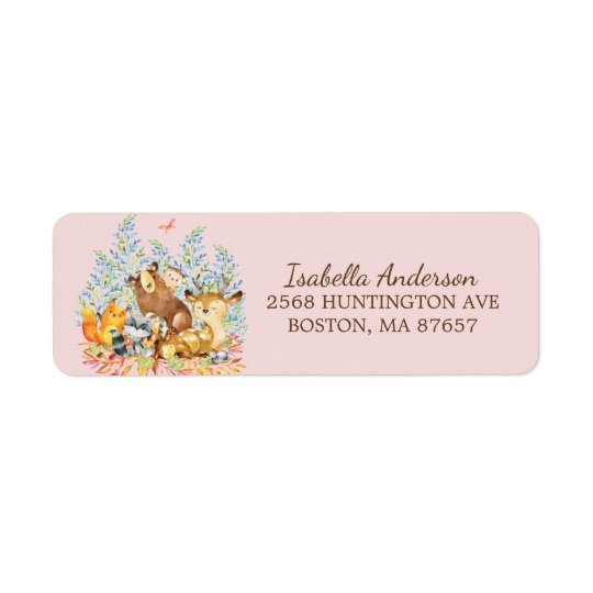 Woodland Animals Girls Baby Shower Address Label