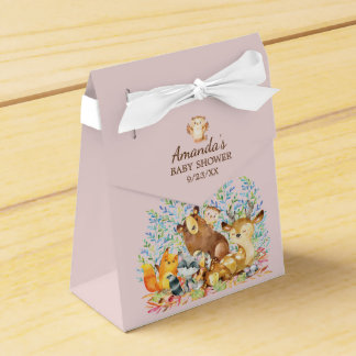 Woodland Animals Girls Baby Shower Favor Box