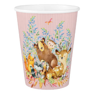 Woodland Animals Girls Baby Shower Paper Cup