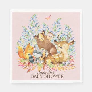 Woodland Animals Girls Baby Shower Paper Napkins Disposable Napkin