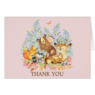 Woodland Animals Girls Baby Shower Thank You Note Card