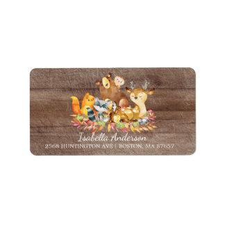 Woodland Animals Neutral Baby Shower Address Label