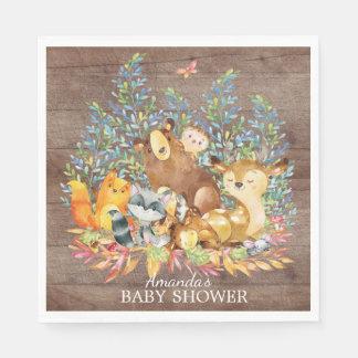 Woodland Animals Neutral Baby Shower Paper Napkins Disposable Serviette